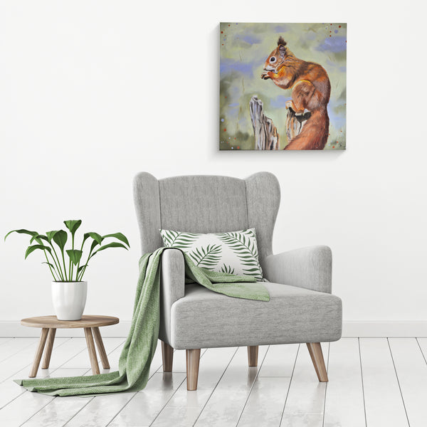 Red squirrel canvas wall art