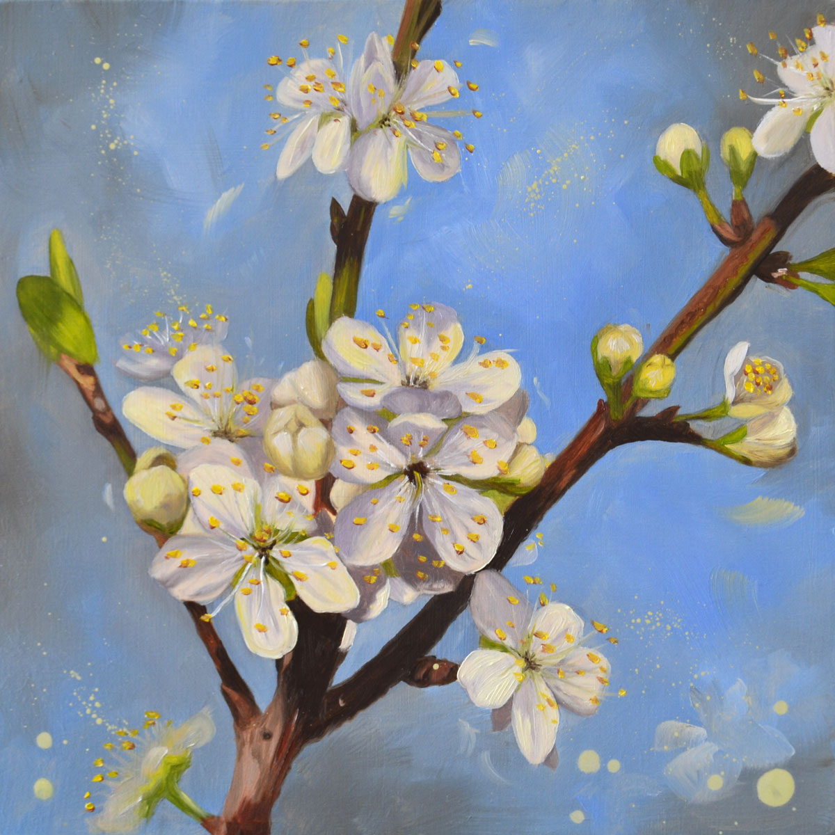Opal plum blossom - original oil painting