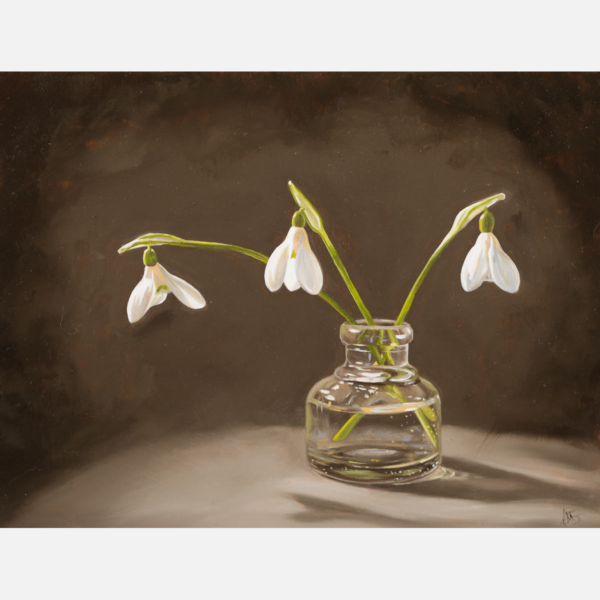 Patience - original oil painting of snowdrops in an antique inkwell