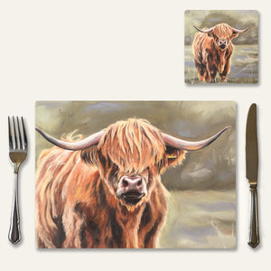 Highland cow place mats and coasters