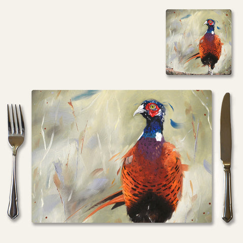 Pheasant placemats and coasters