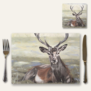 Stag place mat and coaster