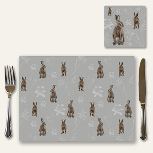Hares in the meadow place mat