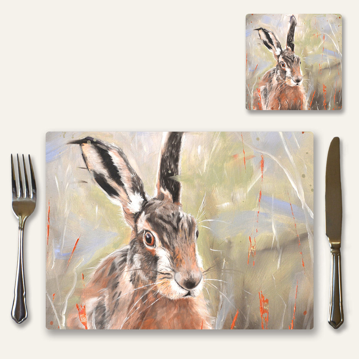 Pepper hare place mat and coaster