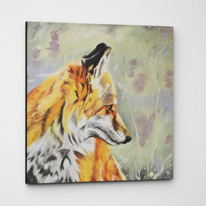 Precious - Fox In The Heather Premium Canvas Print