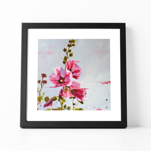 Framed Hollyhocks Print