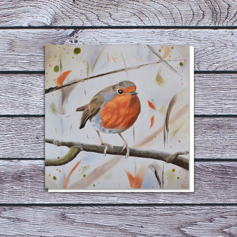 Robin on branch card