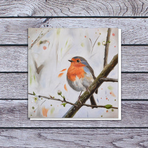 Robin with blossom card