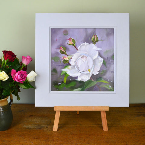 Summer memories - original oil painting of a creamy white rose