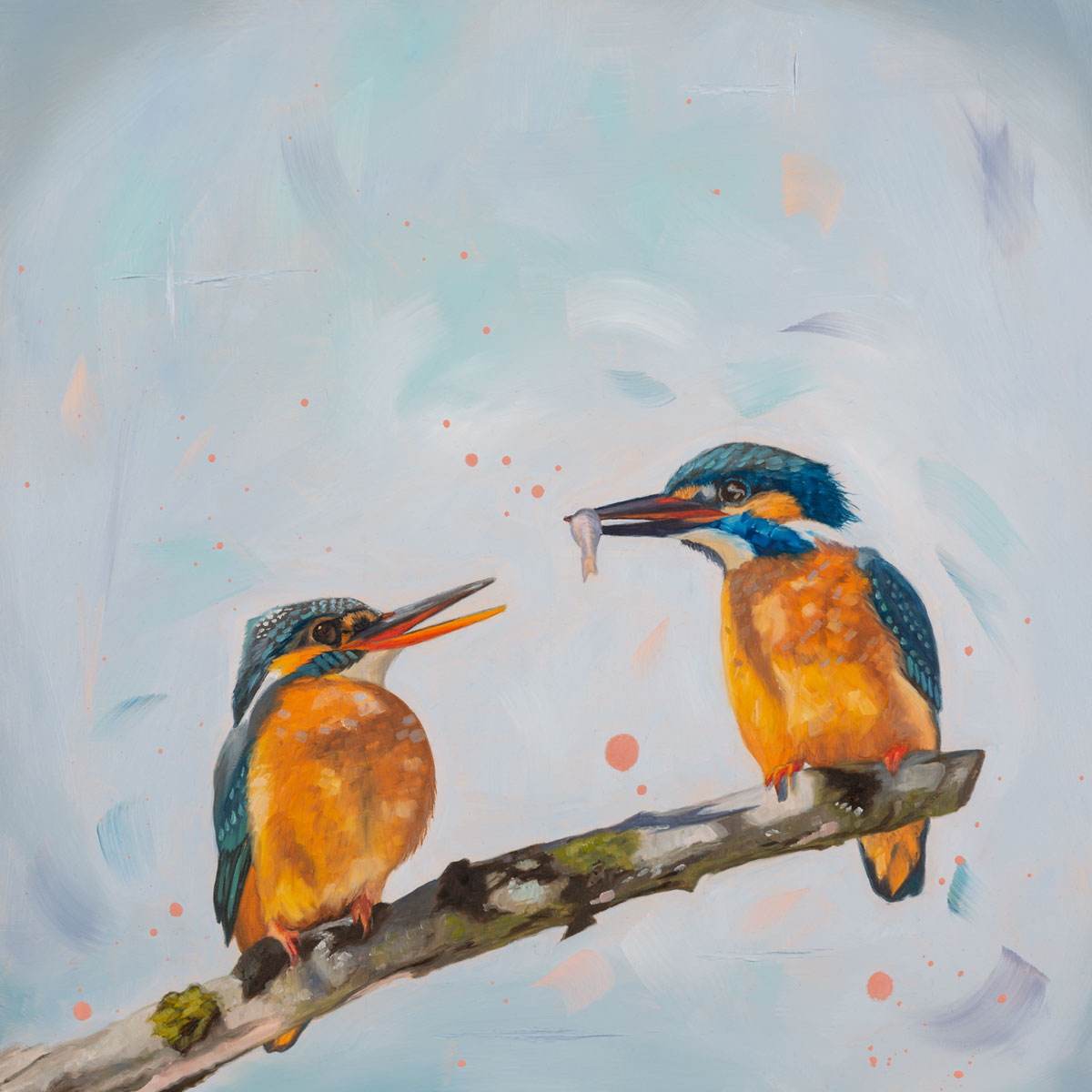 The gift - original oil painting of kingfishers