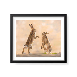 Whiskers at Dawn - Boxing Hares Print