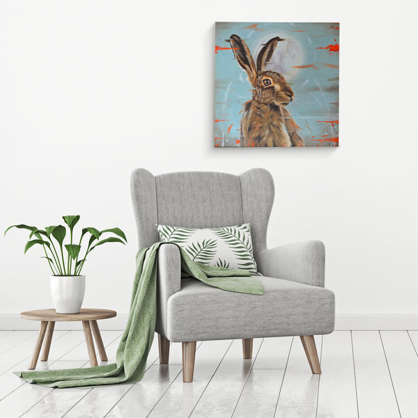 Hare canvas wall art - Moonstruck