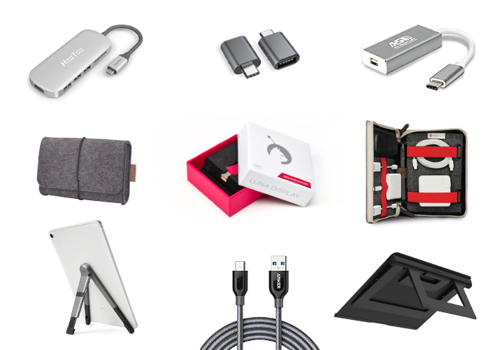 Image collage of various iPad accessories to use with Luna Display