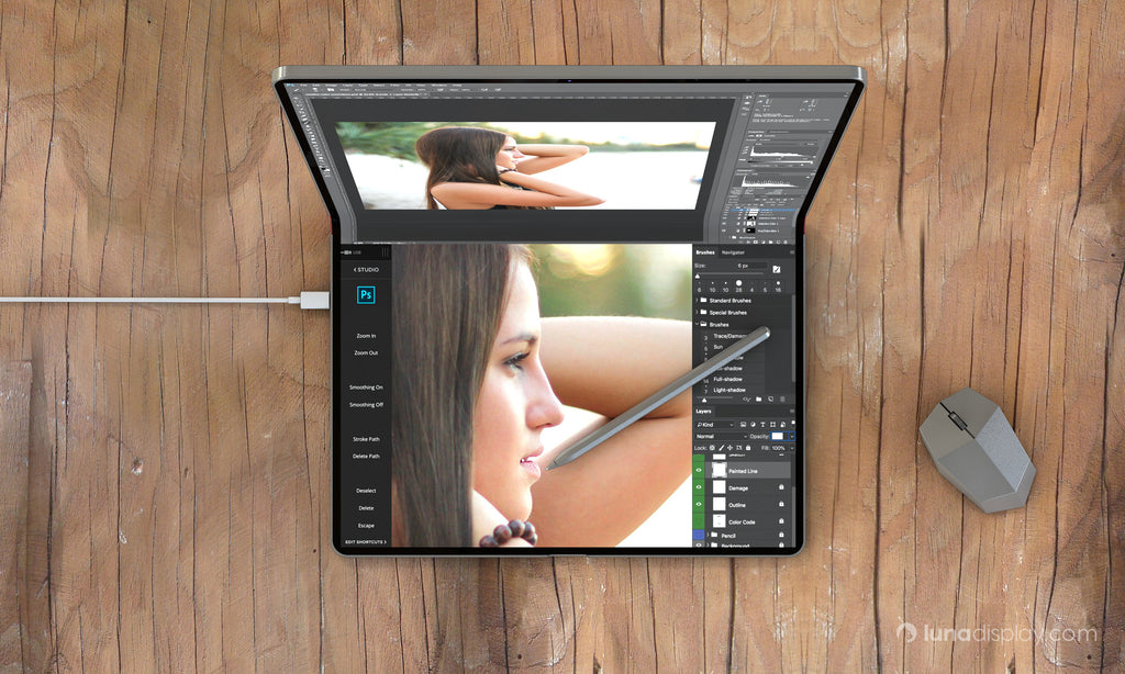 Mac foldable screen concept design, aerial view