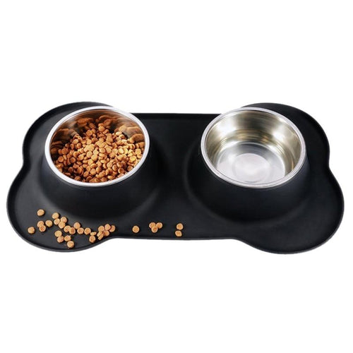 Stainless steel pet bowl Silicone Bone Bowl