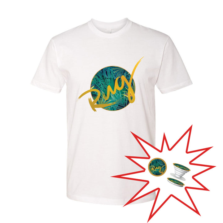 TShirt/Popsocket Bundle - White Tropical