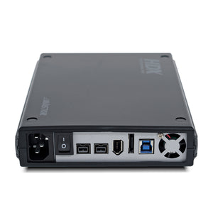 Back of AVASTOR HDX-1500 | 7200 RPM External Hard Drive with Lockbox [FW400, FW800, USB 3.1 & eSATA] displaying the ports.