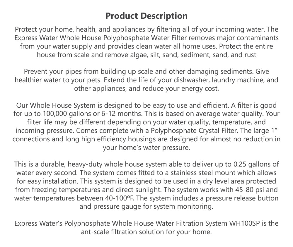 Details about Anti-Scale Whole House Water Filter – Home Water Filtration  System – with Gauge