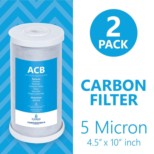 "Express Water – 2 Pack Big Blue Filter Activated Carbon Block Replacement Water Filter – Whole House Filtration – 5 Micron – 4.5"" x 10"" inch - dev-express-water"