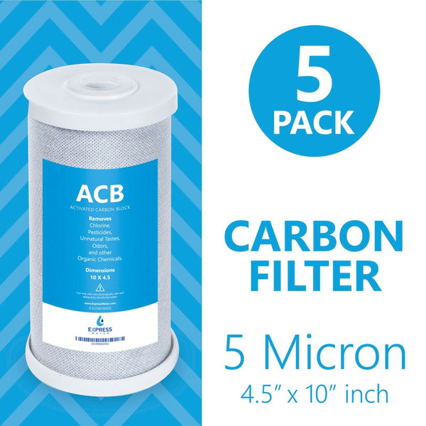 "Express Water – 5 Pack Big Blue Filter Activated Carbon Block Replacement Filter – Water Filter – Whole House Filtration – 5 Micron – 4.5"" x 10"" inch - dev-express-water"