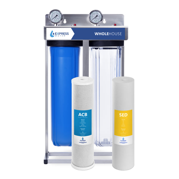 Whole House Water Filter – 2 Stage Home Water Filtration System – Sediment & Carbon Filter – includes Gauge, Easy Release & Connections - dev-express-water