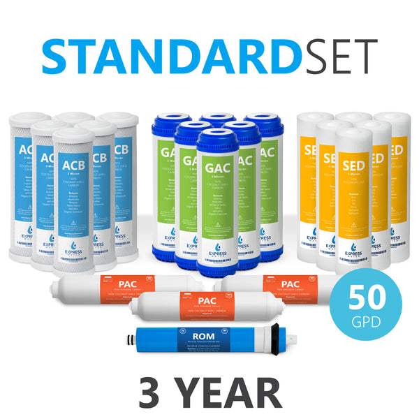3 Year Reverse Osmosis System Replacement Filter Set – 22 Filters with 50 GPD RO Membrane, Carbon, Sediment Filters – 10 inch Size Water Filters - dev-express-water