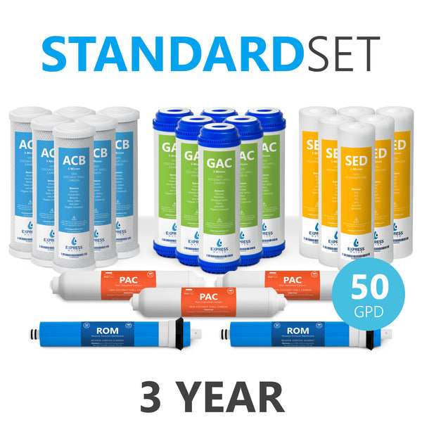 3 Year Reverse Osmosis System Replacement Filter Set – 23 Filters with 50 GPD RO Membrane, Carbon, Sediment Filters – 10 inch Size Water Filters - dev-express-water