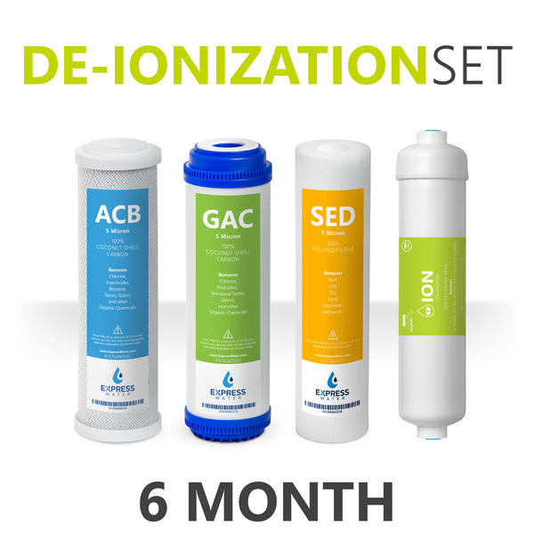 Deionization Reverse Osmosis and Under Sink System Replacement Filter Set – 4 Filters w/ Deionization, Carbon, Sediment – 10 inch Size Water Filters - dev-express-water