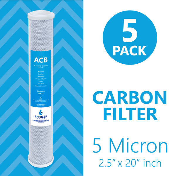 "Express Water – 5 Pack Big Blue Filter Activated Carbon Block Replacement Filter – Water Filter – Whole House Filtration – 5 Micron – 2.5"" x 20"" inch - dev-express-water"