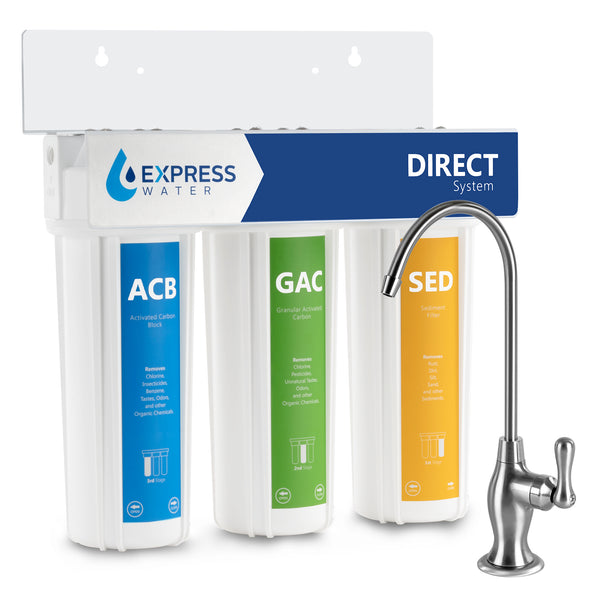 Express Water Direct System – 3 Stage Under-Sink Water Filtration System – High Capacity Filters for up to 1 Gallon of Water per Minute – Water Purifier with Sediment and Carbon Filtration - dev-express-water