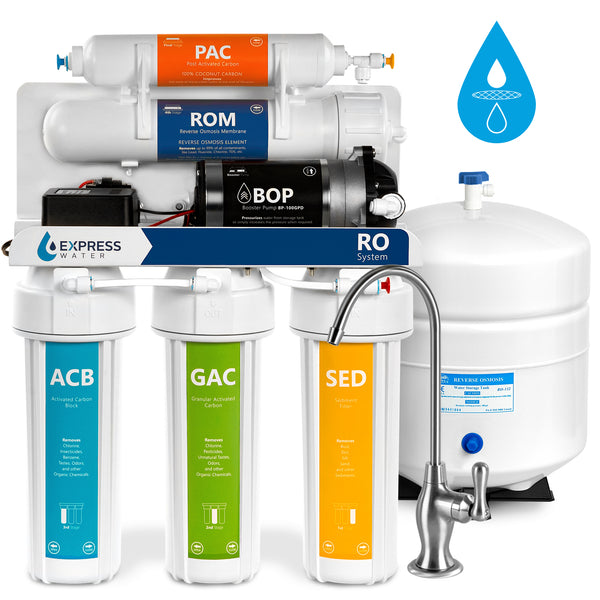 Pressure Boost Reverse Osmosis Water Filtration System – 5 Stage RO Filter with Faucet, Tank, and Pump – 100 GPD
