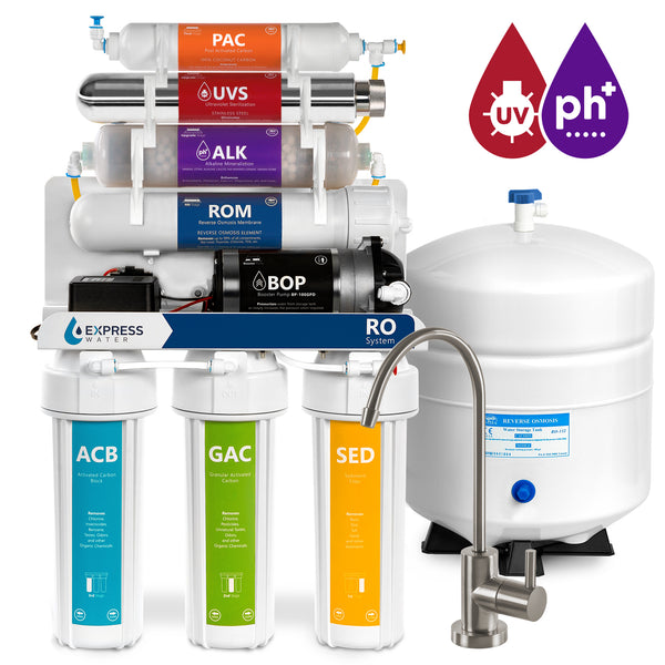 Alkaline Ultraviolet Pressure Boost Reverse Osmosis Filtration System – 11 Stage RO UV with Faucet, Tank, Pump – 100 GDP - dev-express-water