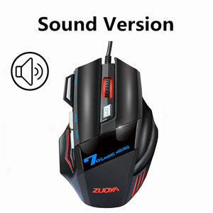 Adjustable 7 Button USB Wired Optical Computer Silent Sound Mouse