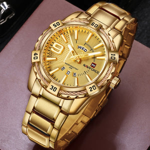Luxury Mens Sport Watch Brand Gold Full Steel Quartz