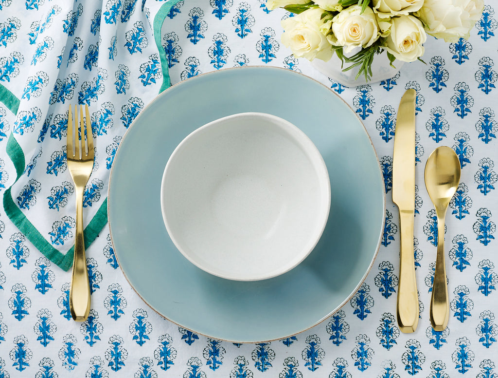 "August Table Blue and Green ""Talelayo"" Tablecloth"