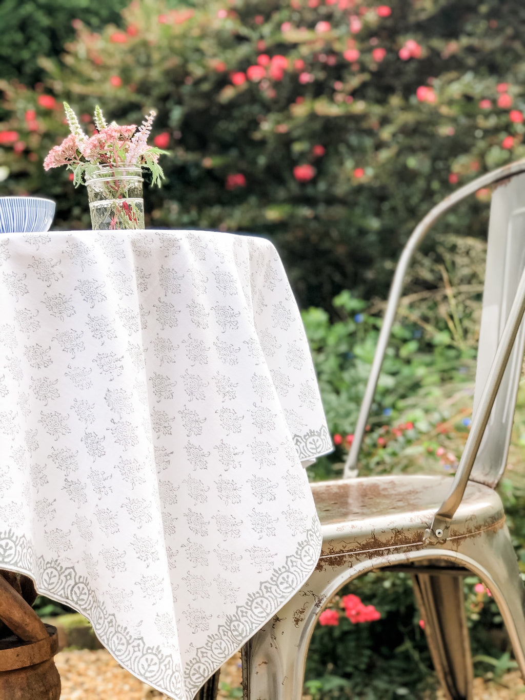 August Tablecloth in Tern Gray Poplin Cotton