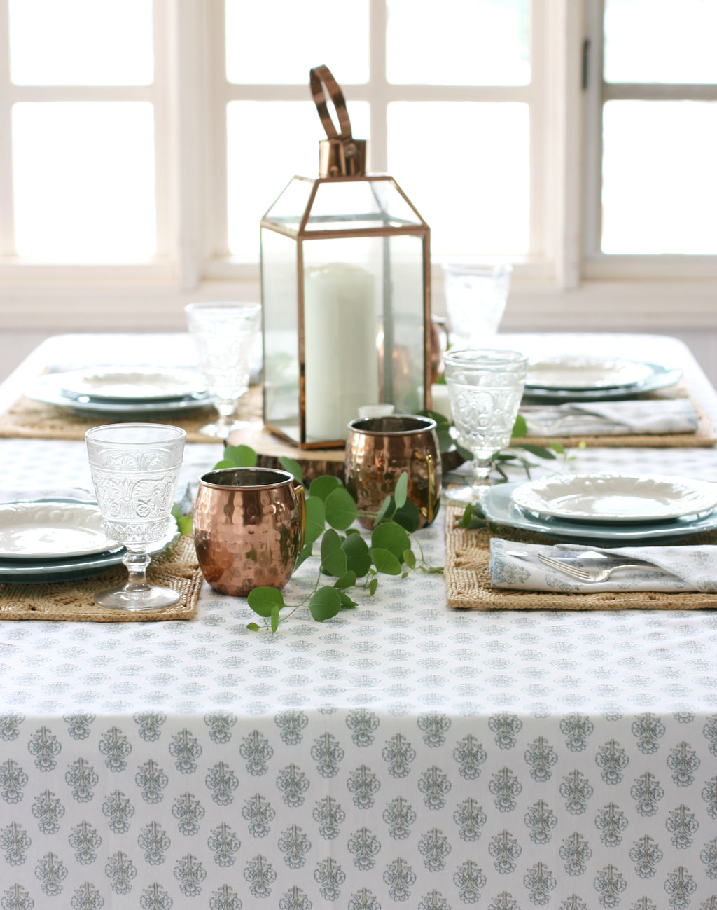 "August Table ""Talelayo"" Tablecloth in Sparrow"