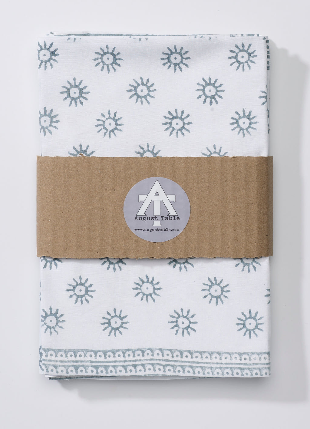 "August Table ""Here Comes the Sun"" Napkins in Tern Gray - set of 4"