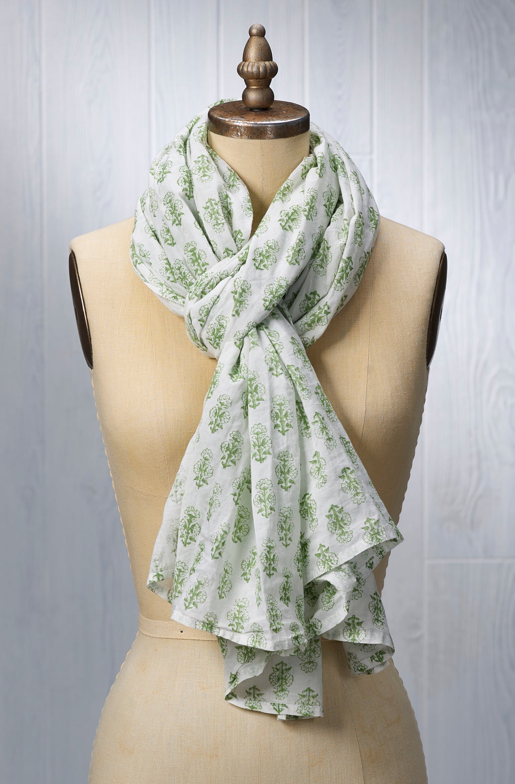 August Table Scarf - Talelayo print in Barbet Green