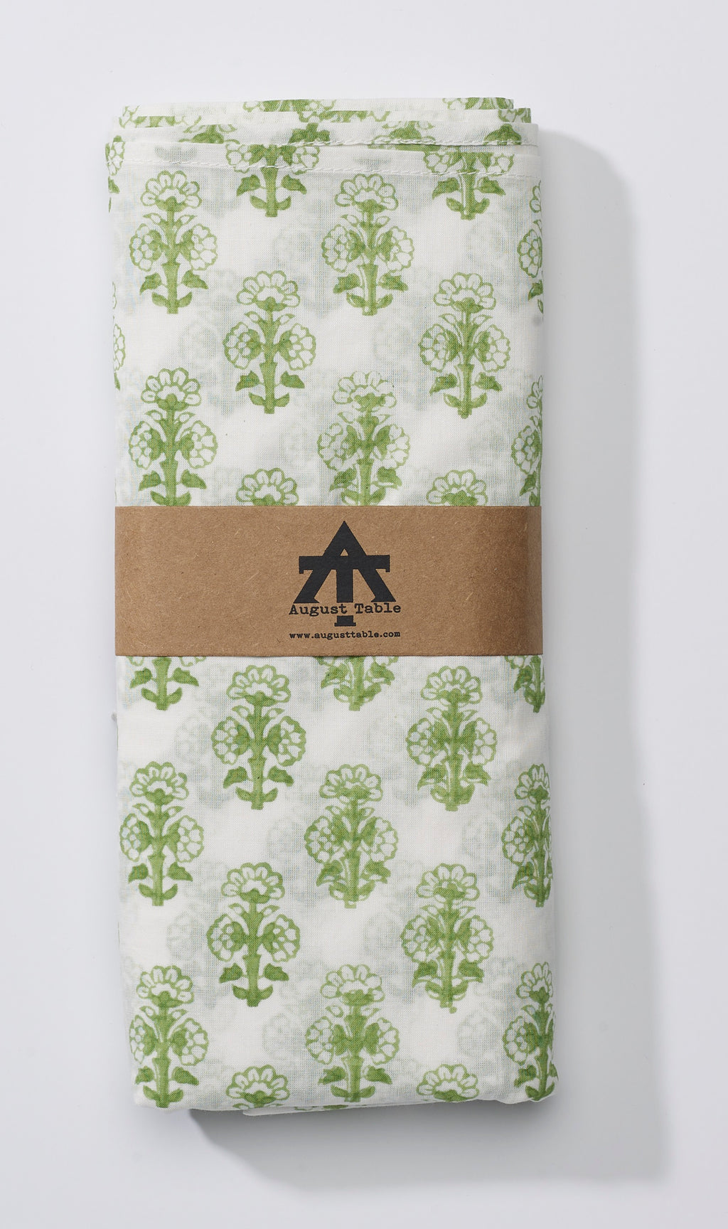 August Table Talelayo print Tablecloth in Barbet Green