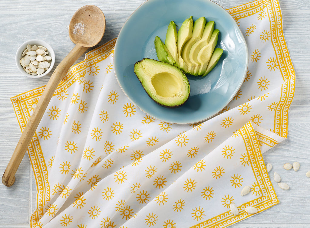 "August Table ""Here Comes the Sun"" Napkins in Tanager Yellow - set of 4"