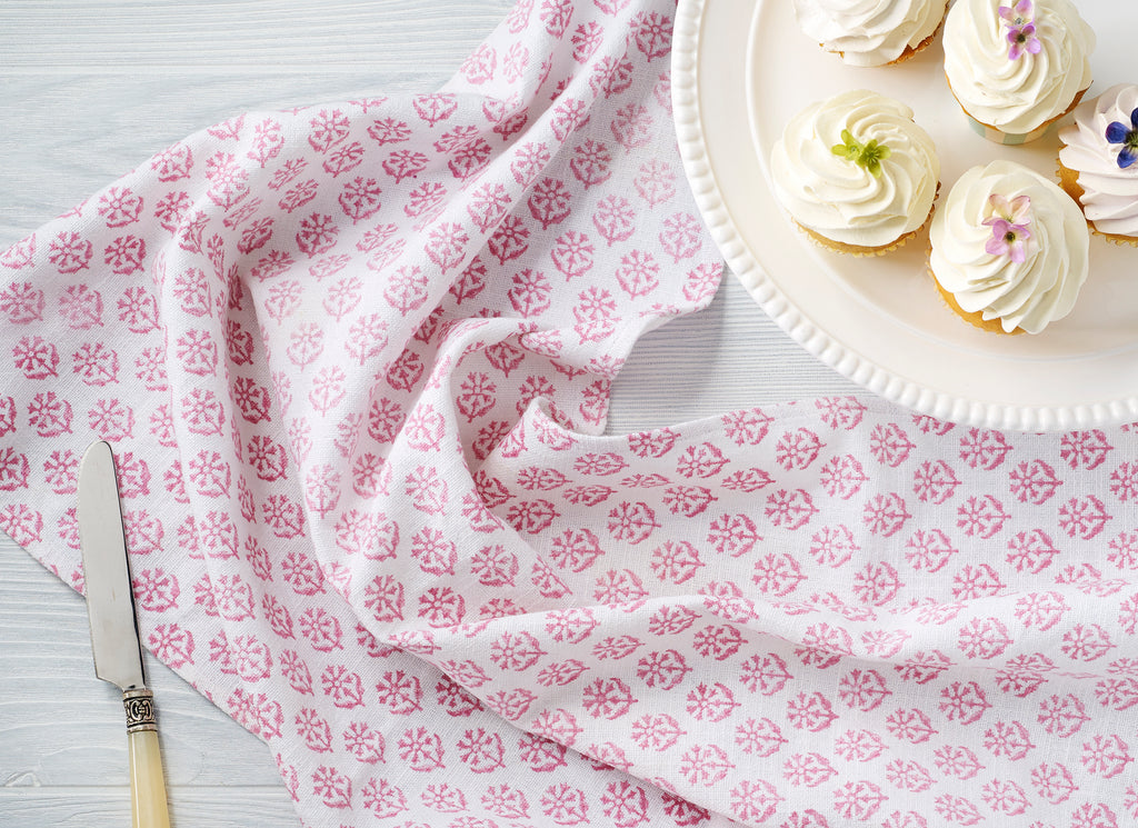 August Table Kitchen Towel in Kestrel Pink - set of 2