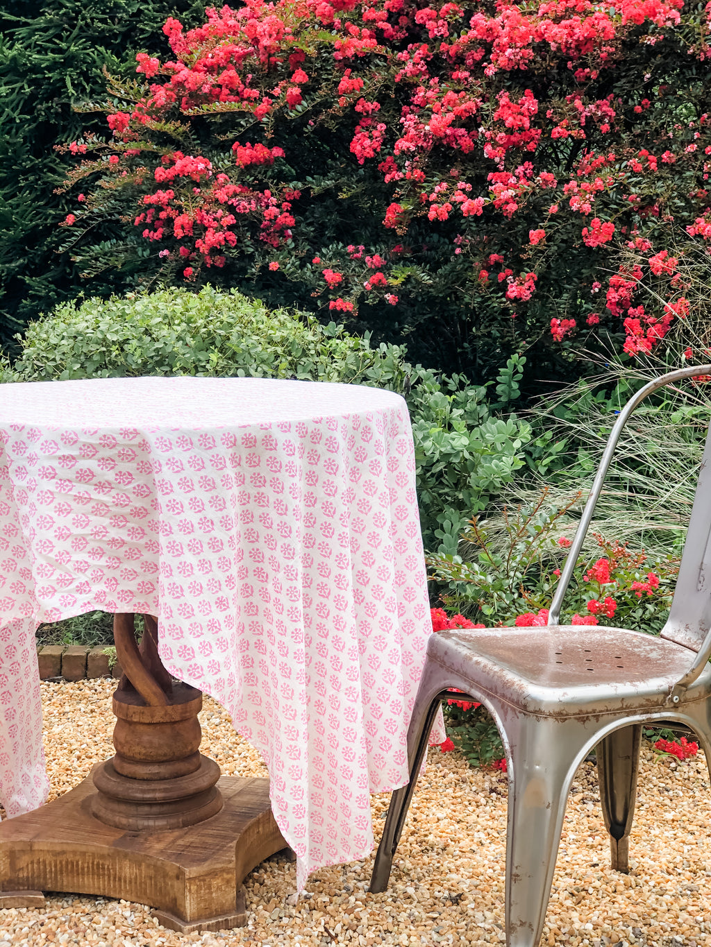 August Table Sequoia print Tablecloth in Kestrel Pink