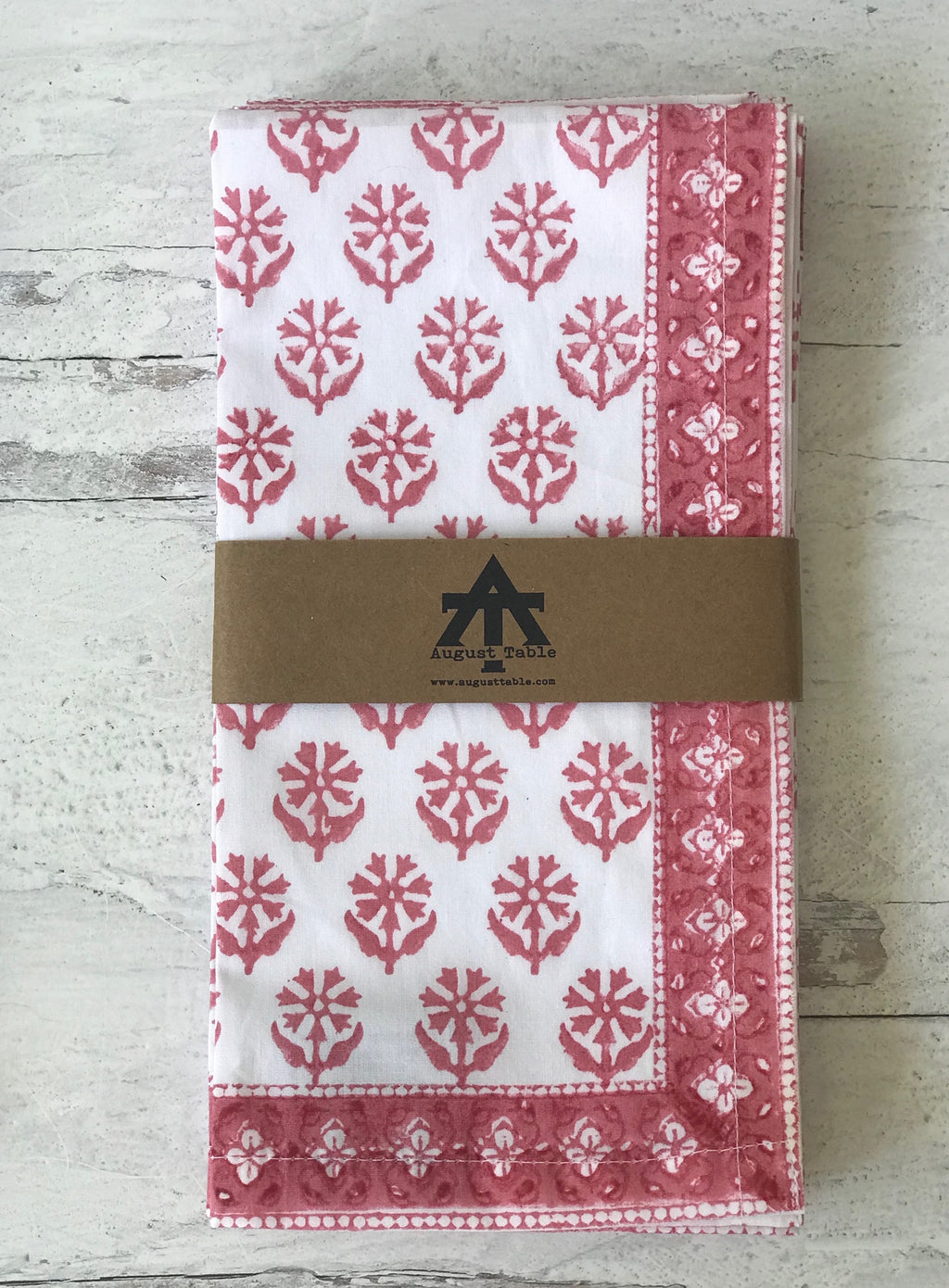 "August Table ""Sequoia"" Napkins in Rosefinch - set of 4"