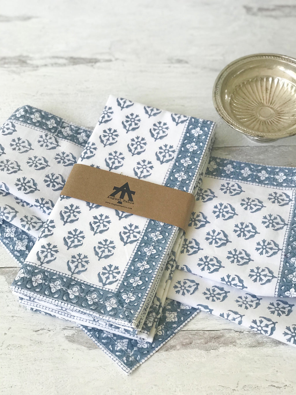 "August Table ""Sequoia"" Napkins in Stella Blue - set of 4"