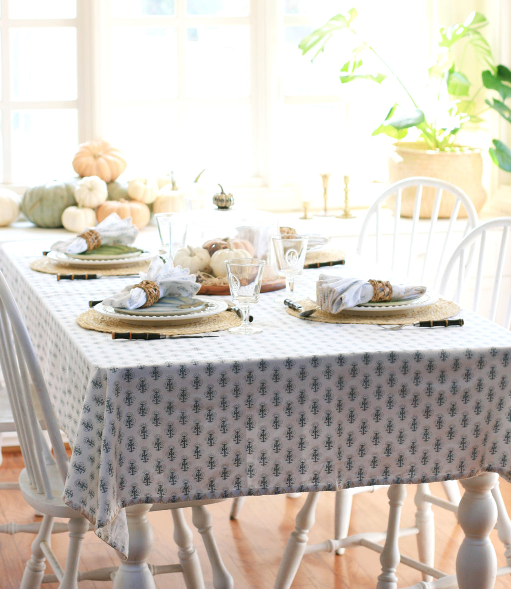 "August Table ""Talelayo"" Tablecloth in Pewter"