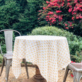 August Table Talelayo print Tablecloth in Tanager Yellow