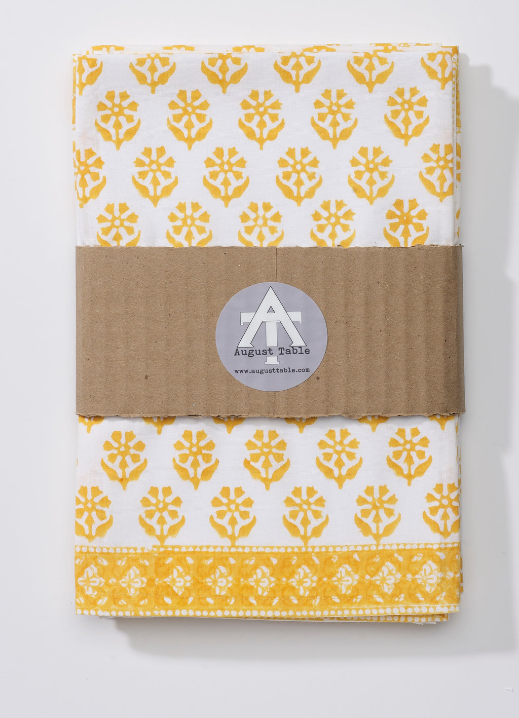 "August Table ""Sequoia"" Napkins in Tanager Yellow - set of 4"