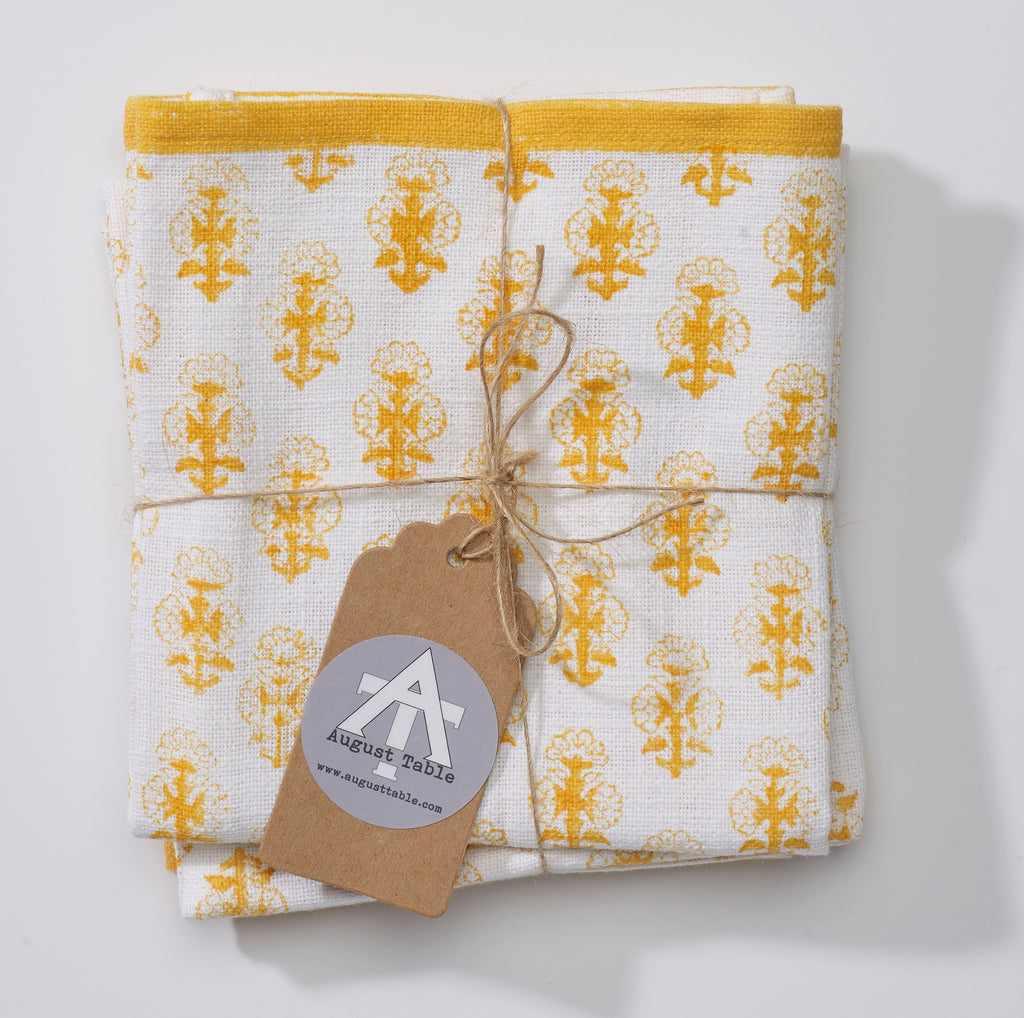 August Table Kitchen Towel in Tanager Yellow Talelayo print - set of 2