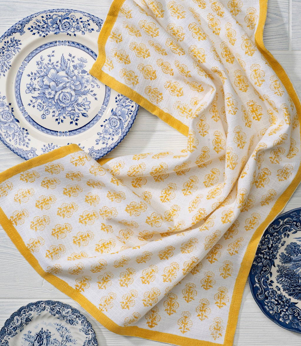 Kitchen Towel in Tanager Yellow Talelayo print - set of 2